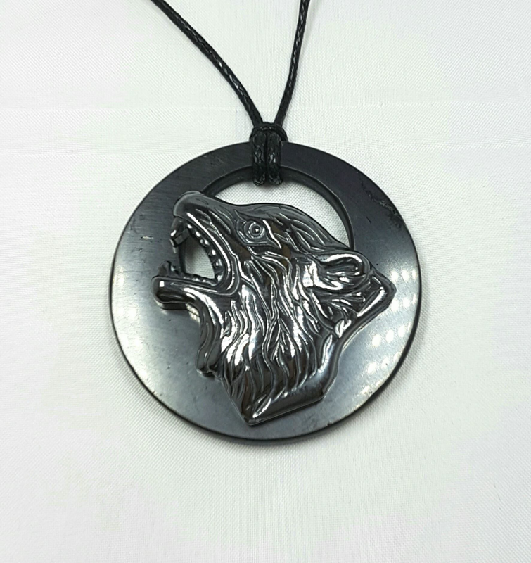 SHUNGITE PENDANT NECKLACE with Hematite Wolf